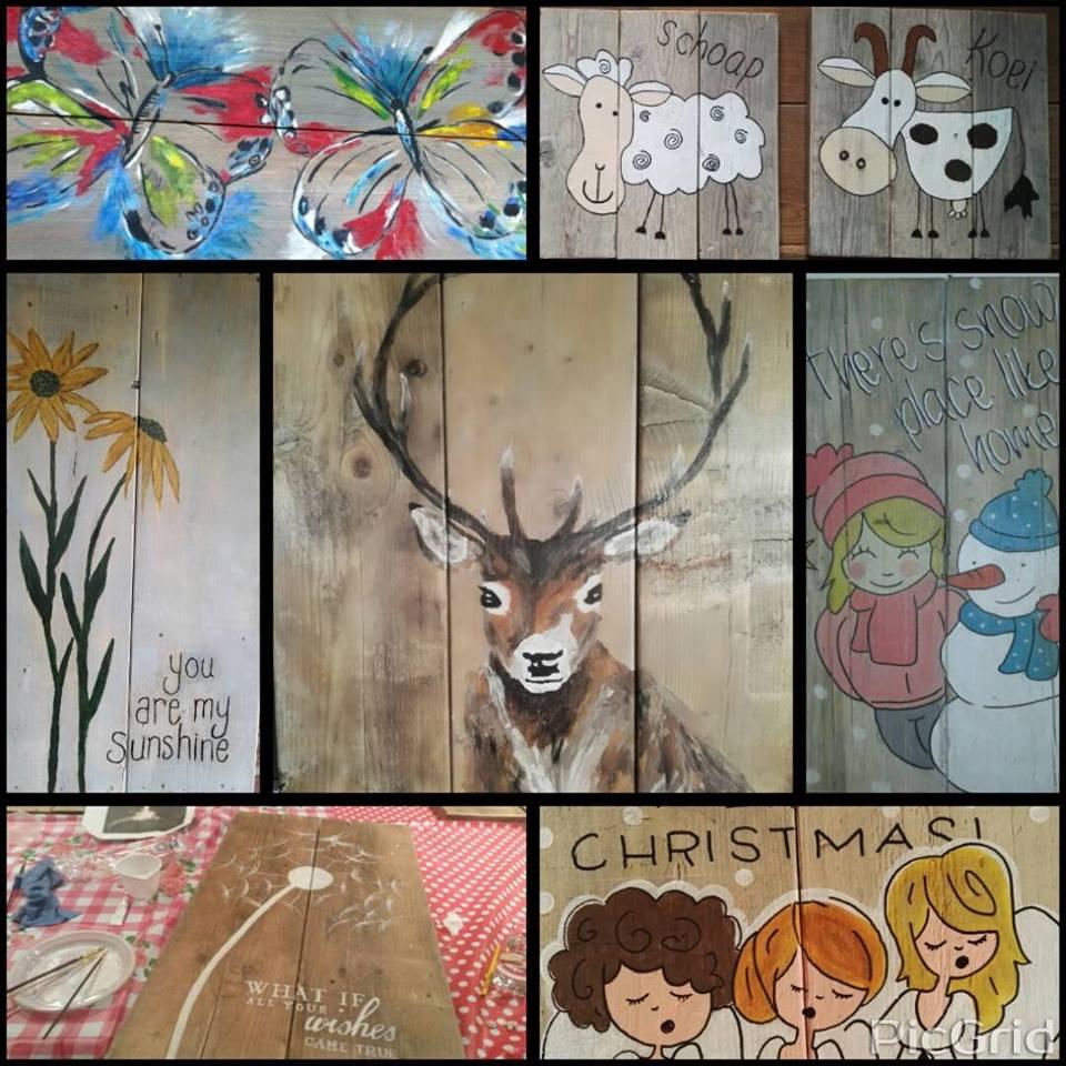 Hedendaags schilderen op hout - Oranjehoeve Bed and Breakfast BK-91